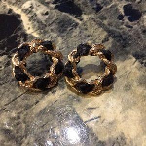 ALDO gold with black ribbon stud earrings